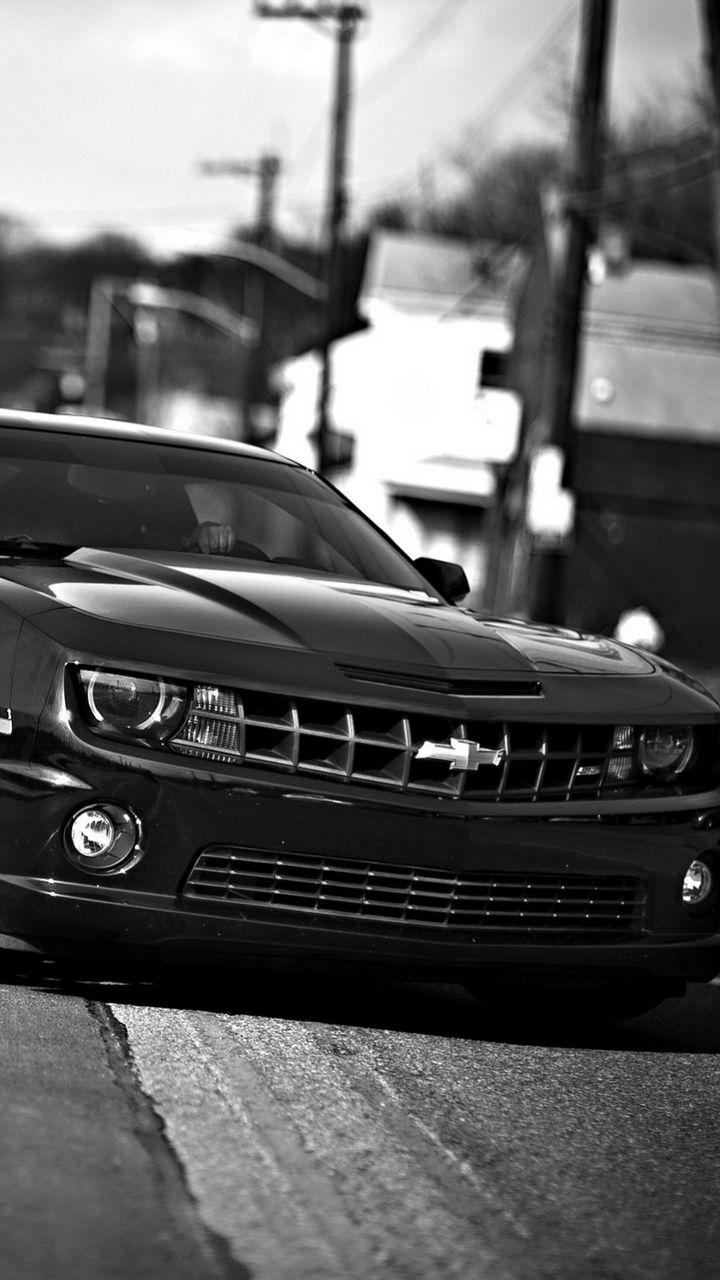 720x1280 Wallpaper chevrolet camaro, chevrolet, cars, front view, black white