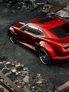 240x320 Wallpaper chevrolet camaro, chevy camaro, carbon, red, top view