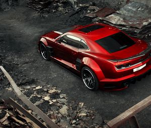 Preview wallpaper chevrolet camaro, chevy camaro, carbon, red, top view