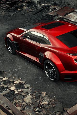 320x480 Wallpaper chevrolet camaro, chevy camaro, carbon, red, top view
