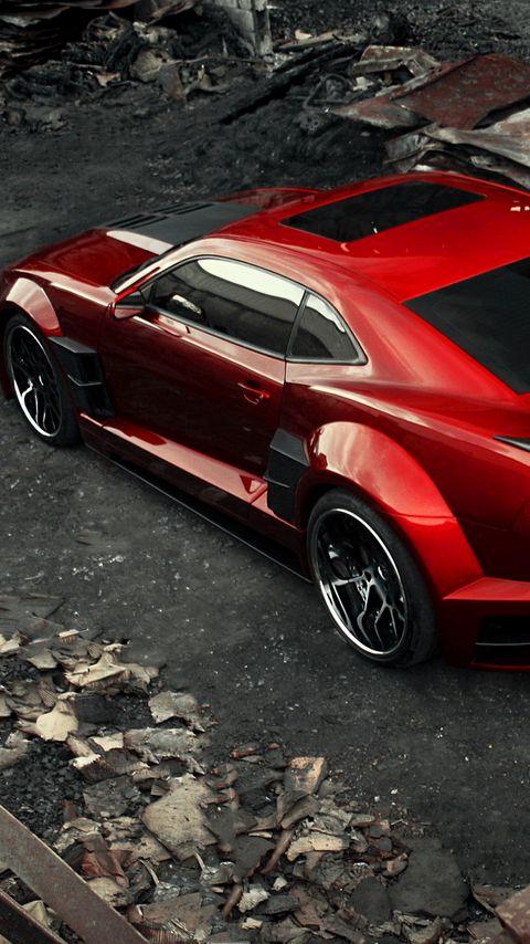 480x854 Wallpaper chevrolet camaro, chevy camaro, carbon, red, top view