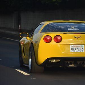 Preview wallpaper chevrolet corvette, chevrolet, car, yellow, road