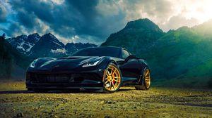 Preview wallpaper chevrolet, corvette, z06, blue, side view, mountain