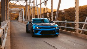 Preview wallpaper chevrolet, front view, blue, lights, tuning