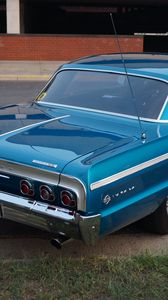 Preview wallpaper chevrolet impala, chevrolet, car, blue, retro
