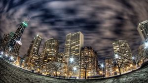 Preview wallpaper chicago, buildings, skyscrapers, night, city, lights, fisheye