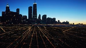 Preview wallpaper chicago, city, night, lights city