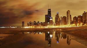Preview wallpaper chicago, lights, city, night, beach, buildings, skyscrapers, hdr