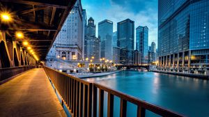 Preview wallpaper chicago, llinois, illinois, usa, united states, city, evening, river, houses, buildings, skyscrapers, road, lighting, lights, bridge