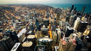 Preview wallpaper chicago, skyline, city lights, coastline