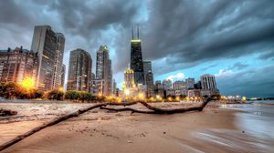 Preview wallpaper chicago, skyscraper, beach