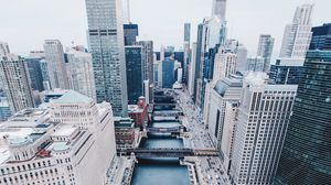 Preview wallpaper chicago, united states, skyscrapers, bridges, view from above