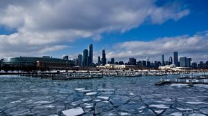 Preview wallpaper chicago, usa, illinois, america, zdniya, skyscrapers, ice, port, winter, building