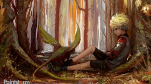 Preview wallpaper child, art, loneliness, forest, trees