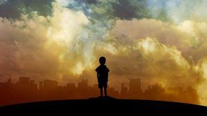 Preview wallpaper child, art, planet, clouds, city