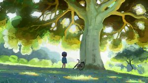 Preview wallpaper child, bike, tree, nature, art