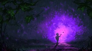 Preview wallpaper child, butterfly, portal, forest, fantastic, art