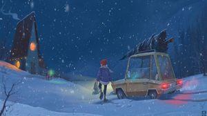 Preview wallpaper child, car, art, winter, snowfall