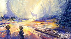 Preview wallpaper child, deer, art, hunting