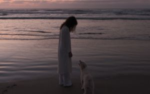 Preview wallpaper child, dog, pet, friends, beach, sunset