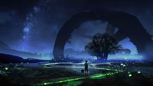 Preview wallpaper child, night, tree, loneliness, art
