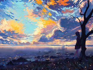 Preview wallpaper child, river, dreams, shore, tree, art