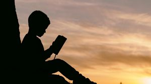 Preview wallpaper child, silhouette, book, sunset