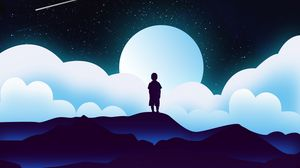 Preview wallpaper child, silhouette, space, clouds, moon, vector