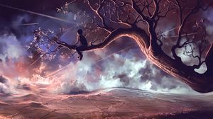Preview wallpaper child, tree, loneliness, review, art
