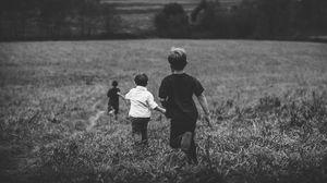 Preview wallpaper children, field, bw, run