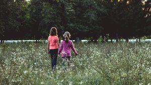 Preview wallpaper children, field, walk, friends