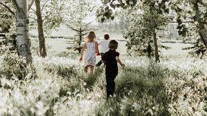 Preview wallpaper children, grass, sunlight, walk