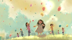 Preview wallpaper children, jump, run, grass, holiday, balloons