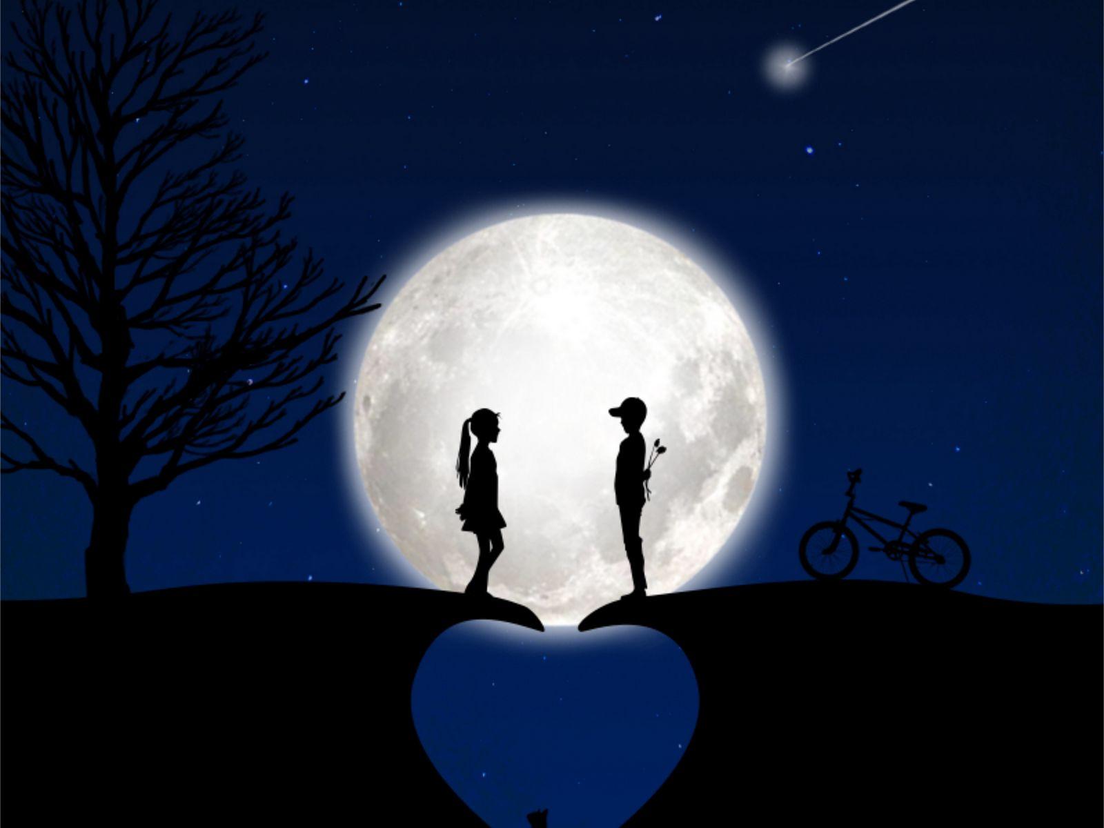 1600x1200 Wallpaper children, silhouettes, love, moon, romance