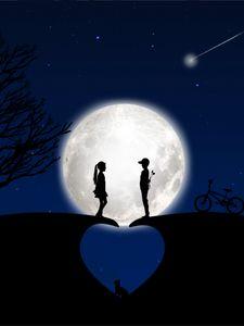 Preview wallpaper children, silhouettes, love, moon, romance