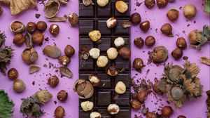 Preview wallpaper chocolate, bar chocolate, delicious, nuts, sweet