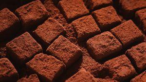 Preview wallpaper chocolate, cubes, dessert, powder, macro