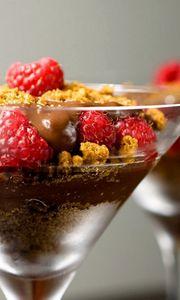 Preview wallpaper chocolate dessert, berries, raspberry, biscuit