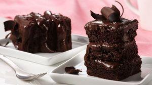 Preview wallpaper chocolate, pie, cream, batch, dessert, fork, black