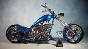 Preview wallpaper chopper, bike, blue, airbrush