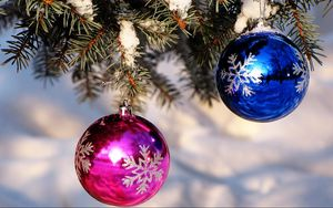 Preview wallpaper christmas decorations, balloons, blue, pink, spruce, snow