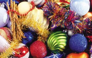 Preview wallpaper christmas decorations, balloons, colorful, tinsel, glitter, attributes