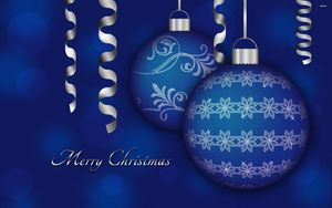 Preview wallpaper christmas decorations, balloons, couple, blue, ribbon, christmas