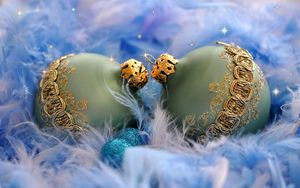 Preview wallpaper christmas decorations, balloons, couple, down