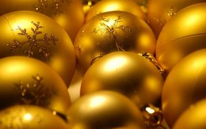 Preview wallpaper christmas decorations, balloons, gold, glitter