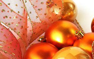 Preview wallpaper christmas decorations, balloons, ribbon, gold, close-up