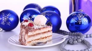 Preview wallpaper christmas decorations, cake, treat, holiday, new year