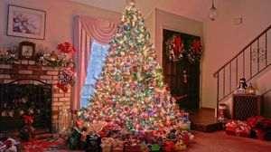 Preview wallpaper christmas, holiday, tree, presents, fireplace, home