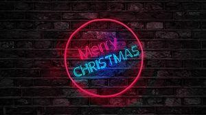 Preview wallpaper christmas, inscription, backlight, wall
