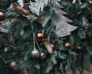 Preview wallpaper christmas, new year, christmas ornaments, cones